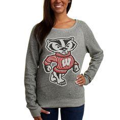 Women's Pressbox Wisconsin Badgers Big Canvas Knobi Fleece Pullover Sweatshirt - Ash - $44.99