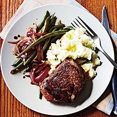Beef Tenderloin Steaks and Balsamic Green Beans | MyRecipes.com #myplate #protein #veggies