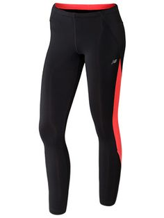 New Balance Women's GO 2 Tight Black/Fiery Coral. Reflective Running Tights.