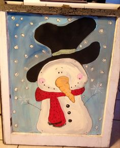 Farm wood window snowman painting