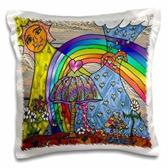 Lee Hiller Designs 60s Retro Psychedelic Print - Retro 60s Psychedelic Magic Mushrooms II Art Print - 16x16 inch Pillow Case     Cool, Trippy, and Bold Psychedelic Room Decor    Imagine a Home full of bold abstract psychedelic home decor.  You will find all kinds of bold, unique, trippy home decorations.  You will even find crazy rainbow colored home decorative accents.  Overall anything with vibrant colors, mandalas or trippy mushrooms is fun for most rooms in the home.  In fact I…