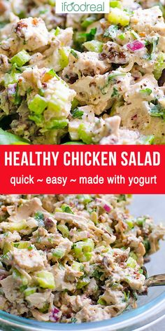 iFOODreal – Healthy Family Recipes Easy, low fat Healthy Chicken Salad that is a must for hot summer days, lunches and quick dinner. It's also low in calories and sodium but big on flavor. Made mostly with plain regular or Greek yogurt. Healthy Salads, Healthy Eating, Healthy Recipes, Fast Recipes, Healthy Life, Healthy Food, Healthy Family Meals, Family Recipes, Nutritious Meals