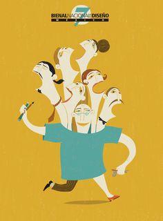 Valeria Gallo firma el cartel de la Bienal Nacional de Diseño de México, organizada por la Escuela de Diseño del Instituto Nacional de Bellas Artes · Valeria Gallo illustrates the official poster for Bienal Nacional de Diseño (Design Biennial) from Mexico, organized by the Design School of the National Institute of Fine Arts.