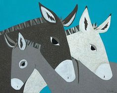 """Donkey Family"" giclee print on canvas."