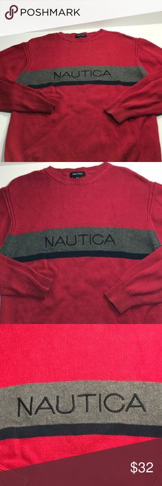 Men's Nautica Sweater Spell out knit sweater Large This is a mens Nautica Spell Out crewneck sweater size large. It is in excellent condition and looks awesome!Grab it here for a great price! Please see all photos as they tell the whole story. Message me with any questions you may have! Check out my store for other quality items and products, new inventory added daily! Nautica Sweaters Crewneck