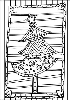 FREE Scrappy Christmas Tree coloring page.