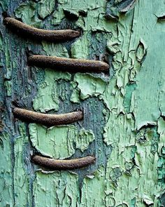 rusty nails, peeling turquoise mint paint, beautiful decay