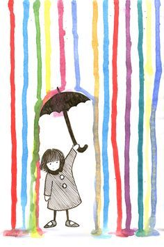 Plaatje opplakken( of kopieren) dan met penseelstreken (óf met wattenstaafjes, werkt wat fijner) en ecoline strepen van boven naar beneden maken. Art And Illustration, Illustrations Posters, Arte Elemental, Art For Kids, Crafts For Kids, Art Children, Young Children, Classe D'art, Umbrella Art