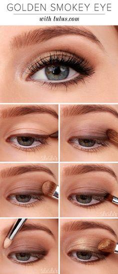 Golden Smokey Eye Make-up Tutorial! :-) Golden Smokey Eye Make-up Tutorial! Smokey Eyeshadow Tutorial, Eyeshadow Tutorial For Beginners, Video Tutorials, Beauty Tutorials, Eye Makeup Tutorials, Make Up Tutorials, Beginner Makeup Tutorial, Eyeshadow Step By Step, Eye Shadow For Beginners