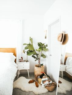 New Darlings - mid century boho bedroom - soft neutral colors