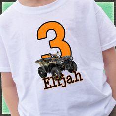 Big Number Camo ATV 4 wheeler Birthday Shirt by CustomTeesForTots