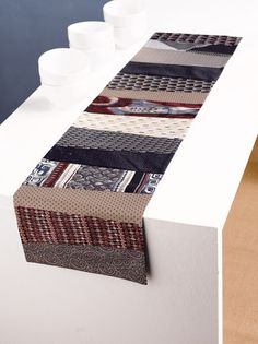 7 tie table runner seen at Martingale, made with neckties
