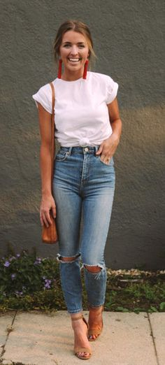 #fall #outfits  women's white crew-neck shirt and distressed blue jeans