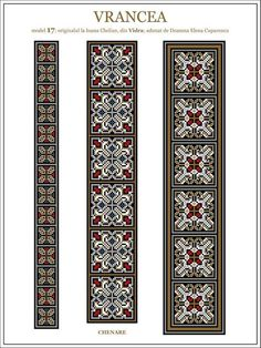 Iie (traditional romanian blouse) from Vrancea (Vidra) embroidery pattern Embroidery Motifs, Cross Stitch Embroidery, Cross Stitch Patterns, Fabric Patterns, Beading Patterns, Cross Stitch Freebies, Ceramic Necklace, Embroidery Techniques, Loom Beading