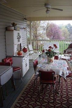 retro dining on the porch- best of both worlds