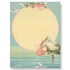 Lovely! ''Vintage Stork with Baby'' postcard.