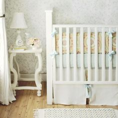 Turquoise gender neutral nursery | Arrivals Inc - nurseries - shabby chic nursery, yellow and blue crib ...