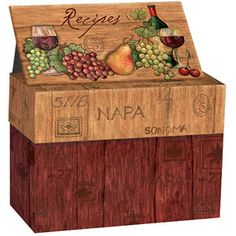Lang Recipe Card Box with Recipe Cards, Napa Valley