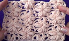 Узор Цветочки из пышных столбиков - Pattern a Flowers of puff stitch