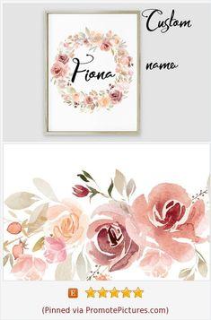 Personalized Girl Floral Nursery Name Sign Custom Coral Baby Name Wreath Printable Monogram Wall Art Letters Decor New baby gift Print Sign . Art by #yrsalka on Etsy etsy.com/YrsalkaDesign #instantdownload #babyname #coralnursery #nursery