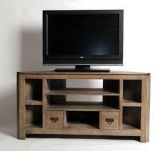 meuble tv dangle hva massif gris 7 niches 2 tiroirs - Idee Meuble Tv Angle