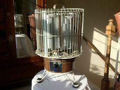 Rare Vintage 1960's Breeze King Bird Cage Electric Floor Fan - Wood-grain Finish