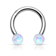 """16G 316L Surgical Steel Fire Opal Circular Barbell Dimensions: 5/16"""" Inside…"""