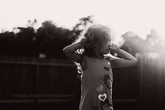 Black and white photography, child photography, little girl, backlit, Dania Deweese photography