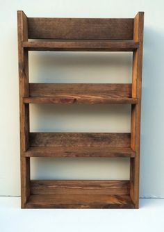 Reclaimed Rustic Spice Rack 4 Shelves 56cm Tall Open Top Dark Oak Finish, Choice of Widths
