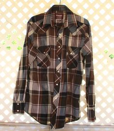 Vintage Wrangler Country Western Shirt Brown by retrosideshow
