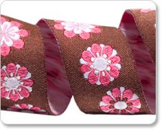 Pink and Brown Flowery Ribbon