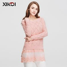 Lace Solid Long Ladies Knitted Female Pullover Women's Sweaters Just look, that`s outstanding! Visit us