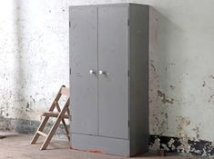A fine grey vintage industrial storage cabinet - with a slightly distressed surface finish. This piece was once used as a secure Post Office storage cupboard. Industrial Storage Cabinets, Salvaged Doors, Vintage Windows, Cupboard Storage, Office Storage, Architectural Salvage, Vintage Industrial, Storage Solutions, Ladder Decor