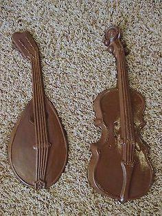 Vintage Warm Brown ROYAL Metal Violin & Madolin Wall Hangings Home Decor