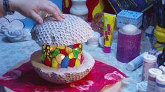 Kugellampe aus Beton mit Mosaik ganz leicht selbt gemacht  - Beton Lampe...