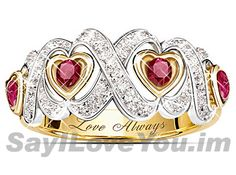 Love Always Promise Ring, Hearts & Kisses Ruby & Diamond Ring. Perfect for Valentine's Day, but not for the faint of heart! Heart Shaped Promise Rings, Cheap Promise Rings, Promise Rings For Couples, Diamond Promise Rings, Heart Ring, Cheap Jewelry, Jewelry Rings, Jewellery, Black Gold Jewelry