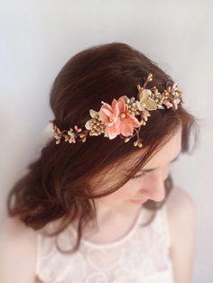 bridal flower crown, coral pink wedding hair accessories, gold flower circlet, wedding headpiece -BELLA- rhinestone floral hair wreath