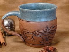Denim and Leather, 10 ounce, Pottery Mug - Ready to Ship - (coffee, tea, ceramic, cup, stoneware)