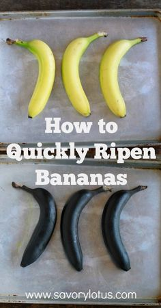 How to Quickly Ripen Bananas (for making banana bread and muffins) -  savorylotus.com #kitchentips #bakingtips #banana #muffins #bread
