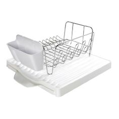 OXO Good Grips 3-Piece Dish Rack Set with Expandable Drain Board by OXO. $39.65. Oversized utensil holder has two compartments to organize flatware and gadgets. Drain board includes a spout for drainage into the sink. Dish rack fits up to 10 plates or bowls with room for cutting boards and more. Drain board expands from 15? x 17? to provide 7? of additional space. Cup loops secure glasses in place. No drips and spills on the counter with the OXO Good Grips 3-piece Dis...