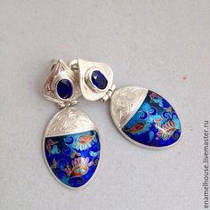 Купить Серьги с сапфирами из серебра и Минанкари - разноцветный, Минанкари, подарок, авторская ручная работа
