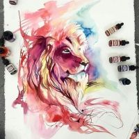 Charming watercolor lion in red-and-blue colors tattoo design