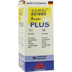 COMBISCREEN 5+Leuko Plus Teststreifen:   Packungsinhalt: 50 St Teststreifen PZN: 04809916 Hersteller: ANALYTICON Biotechnologies AG…