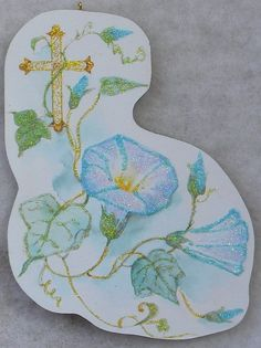 Gold Cross Morning Glories Vtg Easter Greeting Card Glittered Wood Ornament