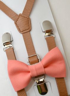 6 months- ADULT SET Kids Baby Boys Brown Pu Leather Suspenders & Coral Salmon Cotton Clip on / Pre-tied Bow Tie