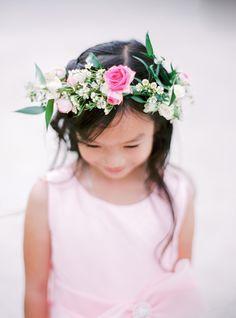 Pretty in pink floral crown flower girl: http://www.stylemepretty.com/destination-weddings/2015/11/11/elegant-destination-garden-wedding-in-paris-at-musee-rodin/   Photography: Le Secret d'Audrey - http://lesecretdaudrey.com/