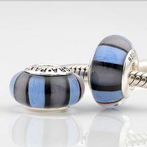 925 Authentic Lavender & Blue Murano Bead Fits Pandora Bracelets