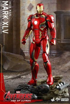 Hot Toys Iron Man Mark 45 Figure with Ultron Prime Sentry Base