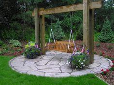 swing sets, garden swings, porch swings, stone walls, backyard, stone patios, yard swing, place, outdoor swings