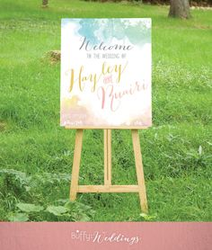 $25 on ETSY  |   A large handmade custom watercolor calligraphy wedding welcome sign is the perfect introduction to your special day.